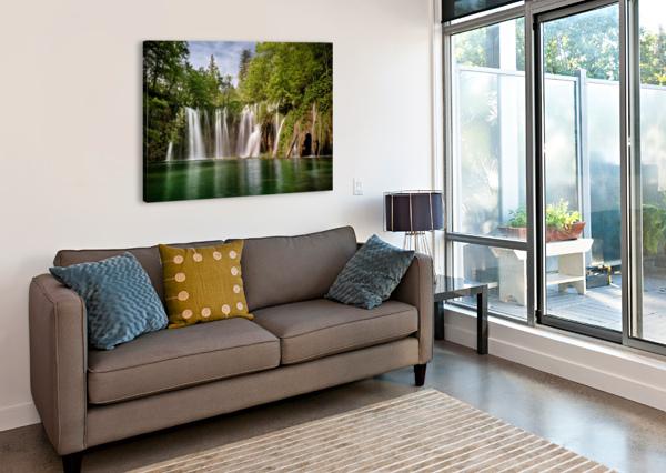 IDYLLIC WATERFALL AT PLITVICE LAKES ANDREAS WONISCH  Canvas Print