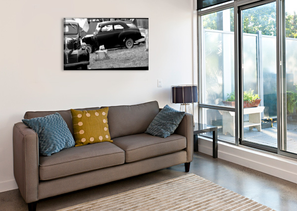 BLACK AND WHITE VINTAGE CARS CAMERON YOUNG  Canvas Print