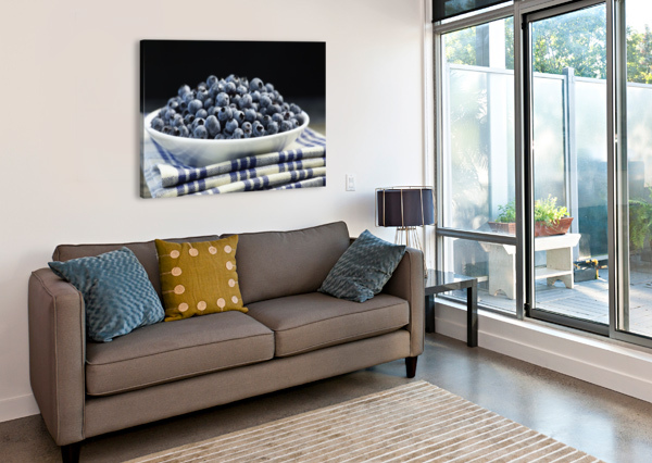 BOWL OF BLUEBERRIES; QUEBEC, CANADA PACIFICSTOCK  Canvas Print