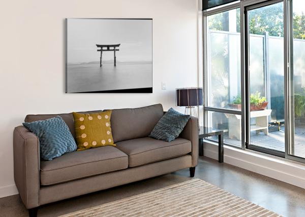 BLACK AND WHITE IMAGE OF A FLOATING SHRINE ON A LAKE; TAKASHIYAMA, SHIGA, JAPAN PACIFICSTOCK  Canvas Print