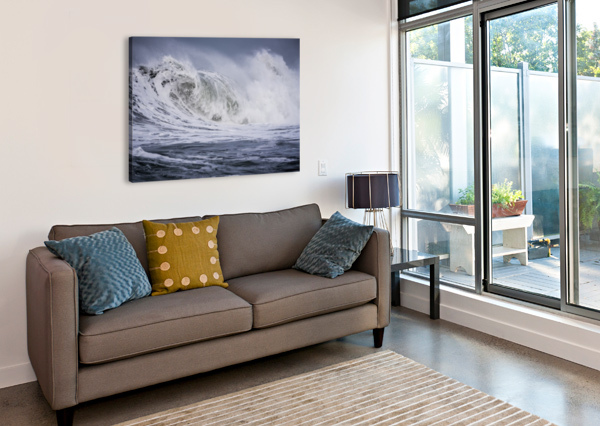 A LARGE WAVE BREAKS ON A STORMY MORNING; SEASIDE, OREGON, UNITED STATES OF AMERICA PACIFICSTOCK  Canvas Print