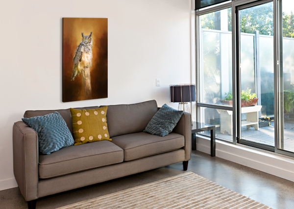 GREAT HORNED OWL IN AUTUMN SHARON MCCONNELL  Canvas Print
