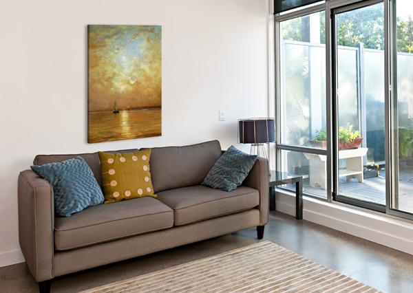 SUNSET AT SCHEVENINGEN SUN HENDRIK WILLEM MESDAG  Canvas Print