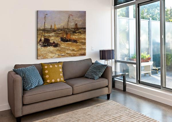 SHIPS FOR ANCHOR SUN HENDRIK WILLEM MESDAG  Canvas Print
