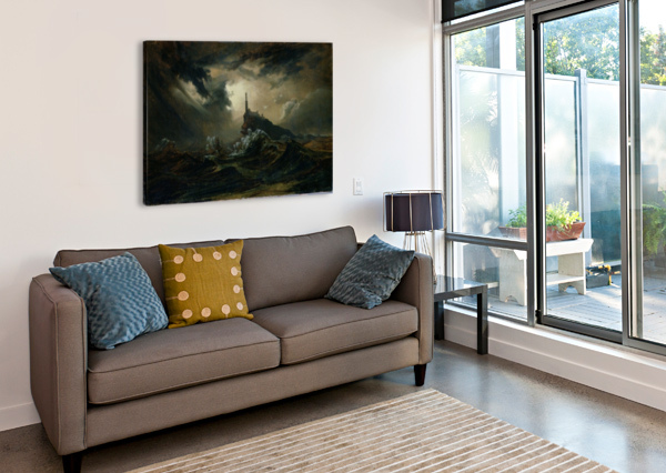 STURMISCHE SEE MIT LEUCHTTURM CARL EDUARD FERDINAND BLECHEN  Canvas Print