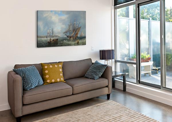 BOATS BY THE SEA JOHN WILSON CARMICHAEL  Canvas Print