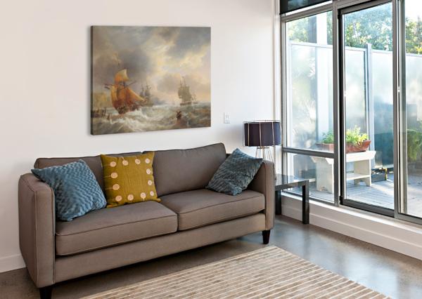 A STORMY DAY OF THE SEA JOHN WILSON CARMICHAEL  Canvas Print