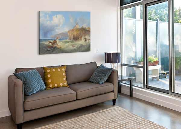 LANDSCAPE WITH A HOUSE BY THE SEA JOHN WILSON CARMICHAEL  Canvas Print