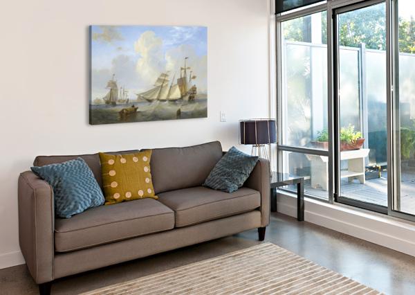 LOTS OF BOATS BY THE SEA JOHN WILSON CARMICHAEL  Canvas Print
