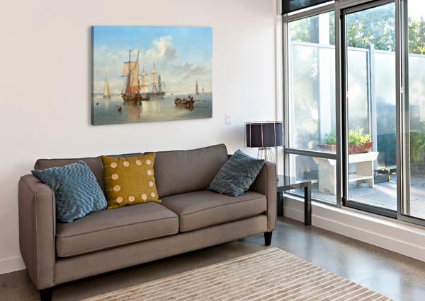 SHIPPING IN A FLAT CALM OFF THE DUTCH COAST JOHN WILSON CARMICHAEL  Canvas Print