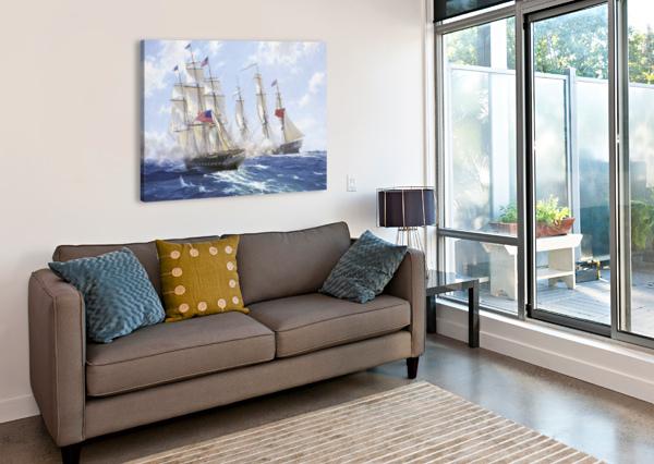 AMERICAN BOATS BY THE SEA JOHN WILSON CARMICHAEL  Canvas Print