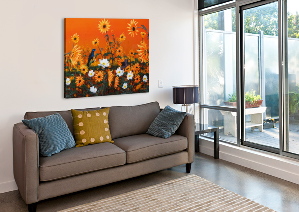 SUNFLOWERS & PRICKLY POPPIES MIKE ROSS  Canvas Print