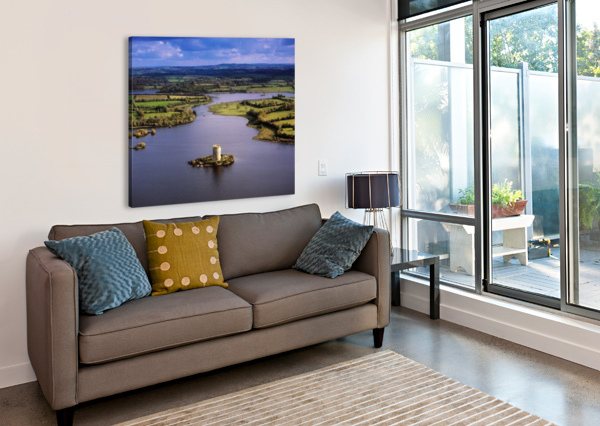 CLOUGHOUGHTER CASTLE, CO CAVAN, IRELAND; AERIAL VIEW OF LOUGH OUGHTER AND 13TH CENTURY CASTLE BUILT ON THE POSSIBLE SITE OF A CRANNOG PACIFICSTOCK  Canvas Print