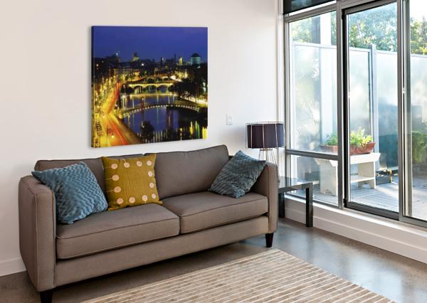 DUBLIN, CO DUBLIN, IRELAND; VIEW OF THE RIVER LIFFEY AT NIGHTTIME PACIFICSTOCK  Canvas Print