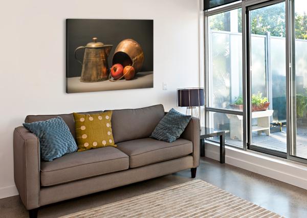 COPPER POTS POMEGRANATE APPLE FRANK WILSON  Canvas Print
