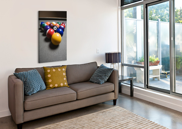 POOL BALLS ON A BILLIARD TABLE WITH THE EIGHT BALL FACING UPWARDS PACIFICSTOCK  Canvas Print