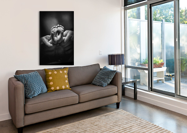 ADULT HANDS HOLDING BARE BABY FEET PACIFICSTOCK  Canvas Print