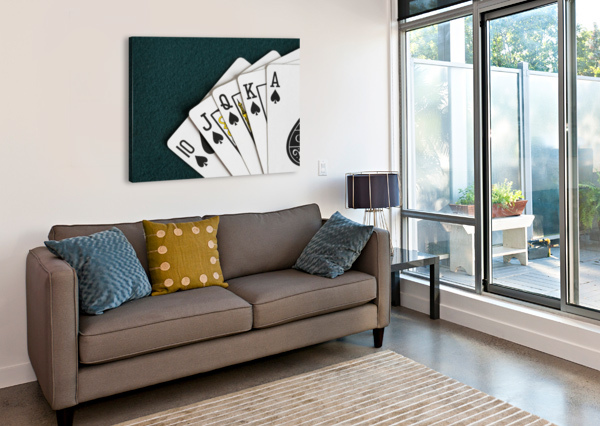 CLOSE-UP OF BLACKJACK PLAYING CARDS SHOWING SPADES ROYAL FLUSH PACIFICSTOCK  Canvas Print