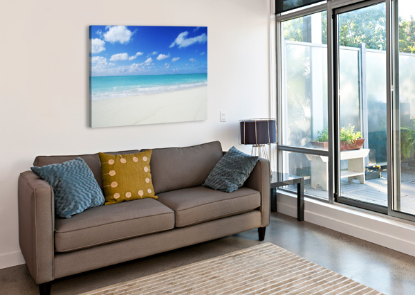 NORTHWESTERN HAWAIIAN ISLANDS, MIDWAY ATOLL, SAND ISLAND, TURQUOISE OCEAN AND WHITE SAND BEACH. PACIFICSTOCK  Canvas Print