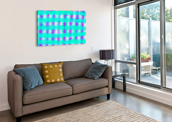 PLAID PATTERN GRAFFITI PAINTING ABSTRACT IN BLUE GREEN AND PINK TIMMYLA  Canvas Print