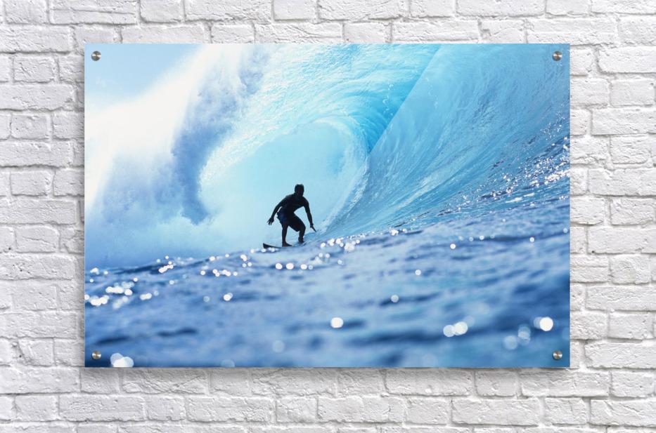 Hawaii, Oahu, North Shore, Silhouette Of Surfer In Pipeline Barrel  Acrylic Print