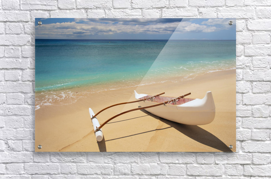 White Outrigger Canoe On Shoreline With Shadow, Calm Turquoise Water  Acrylic Print