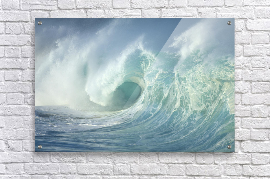 Huge Wave Curling, Crashing Side View Of Curl C1723  Acrylic Print