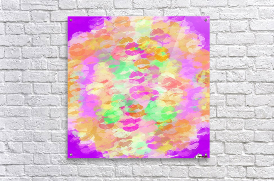 sexy kiss lipstick abstract pattern in pink orange yellow green  Acrylic Print