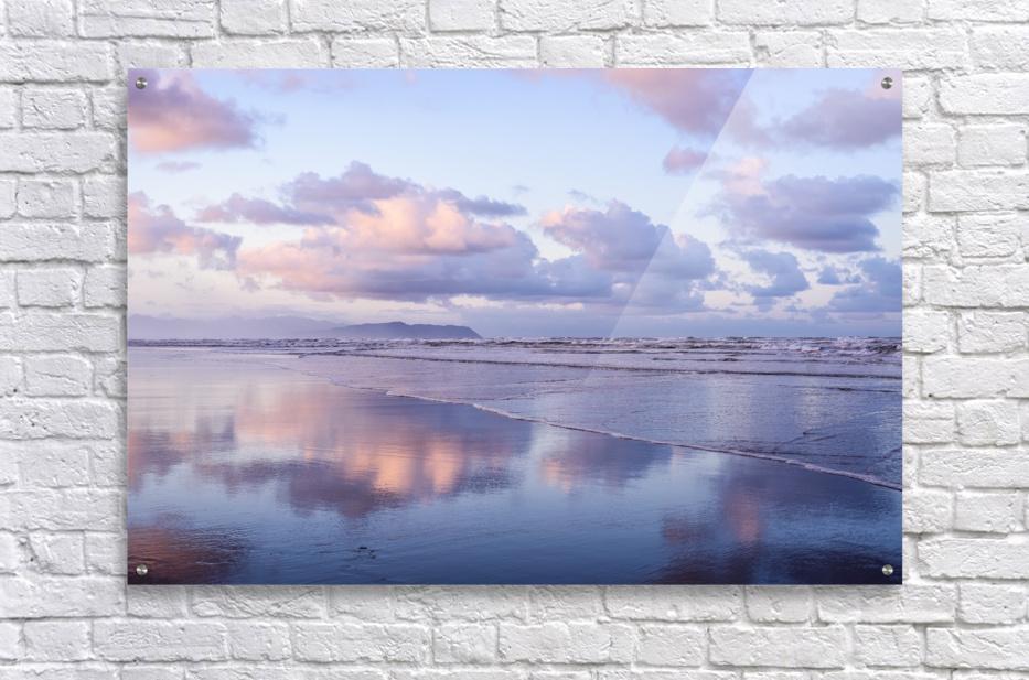 Clouds reflect on an Oregon beach at sunrise; Hammond, Oregon, United States of America  Acrylic Print