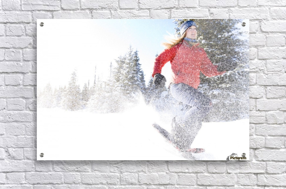 Young Woman On Snowshoes Enjoy The Outdoors Near Homer, Alaska During Winter.  Acrylic Print
