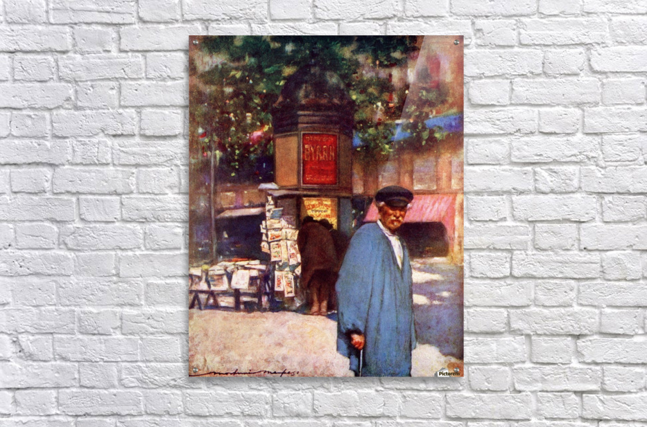 The Kiosk on the Boulevard, Paris. Colour illustration from the book France by Gordon Home published 1918  Acrylic Print