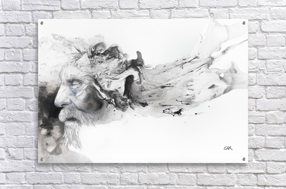 Illustration of a man's face with abstract shapes emerging from the back of the head  Acrylic Print