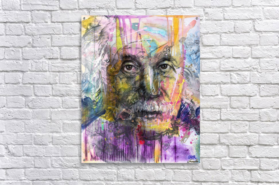 Illustration of a man's face with colourful abstract patterns surrounding it  Acrylic Print