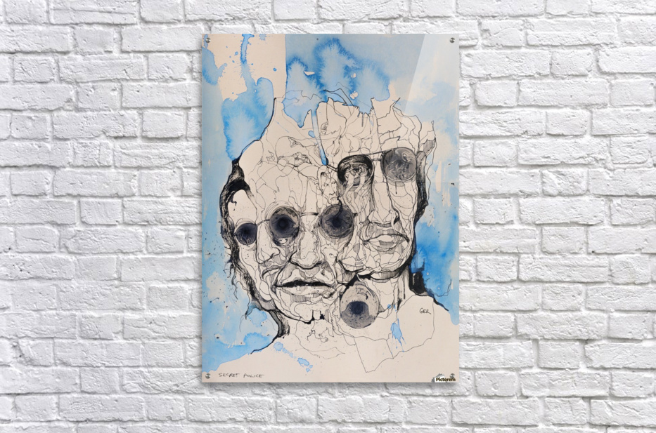 Illustration of a composite of men's faces  Acrylic Print
