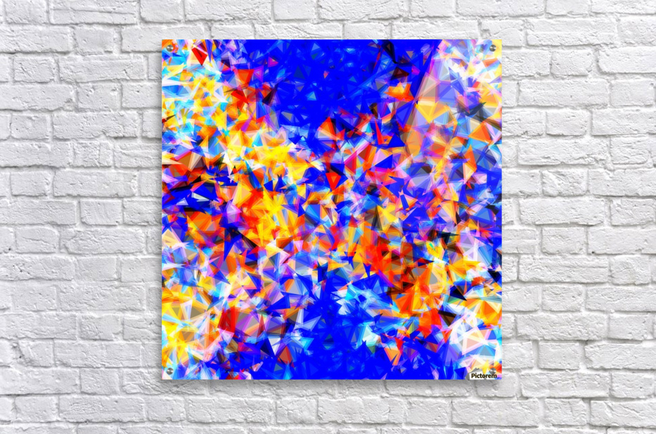 psychedelic geometric triangle abstract pattern in blue orange yellow  Acrylic Print
