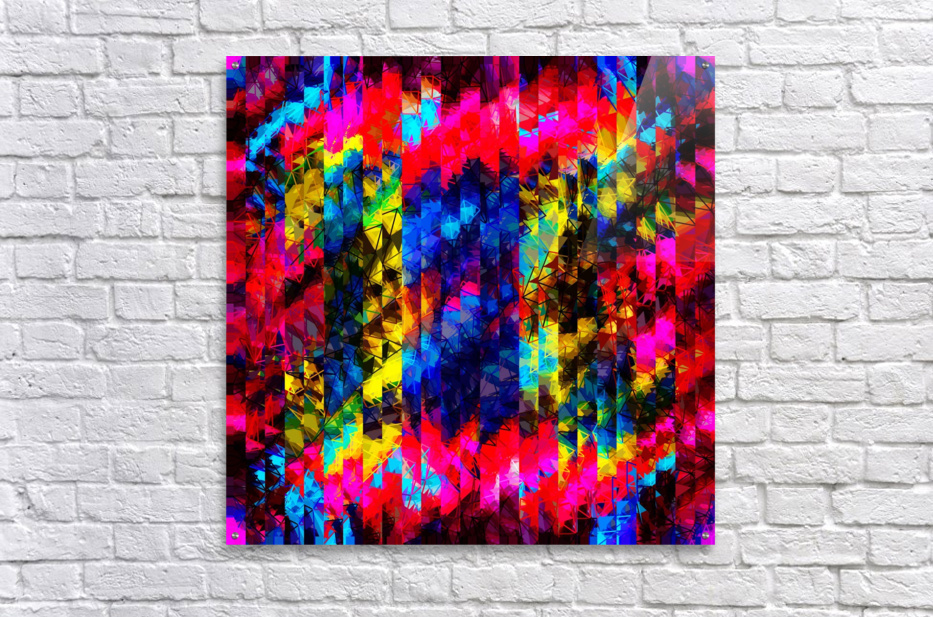 psychedelic geometric painting abstract pattern in red pink blue yellow  Acrylic Print