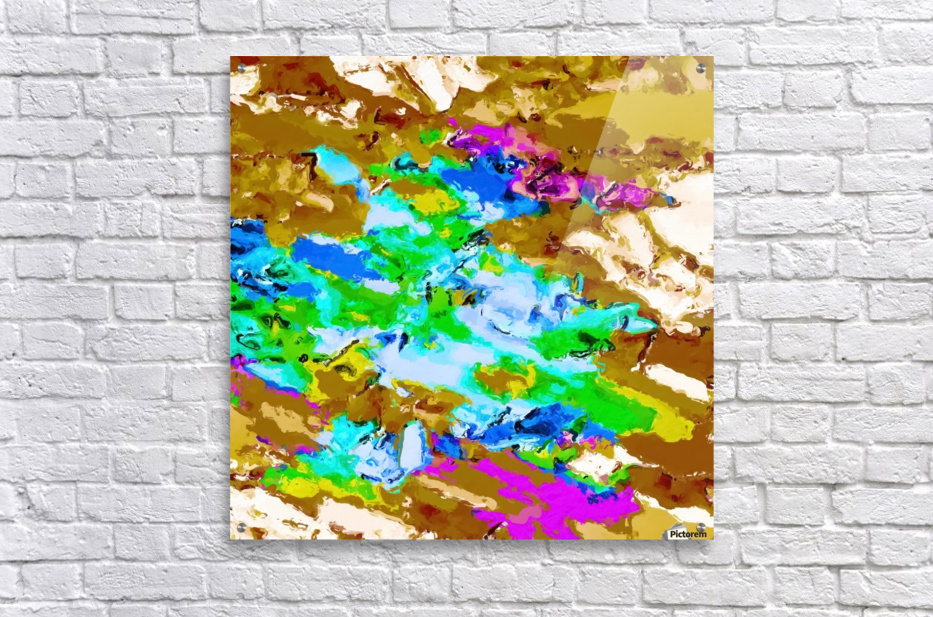 psychedelic splash painting abstract texture in brown green blue pink  Acrylic Print