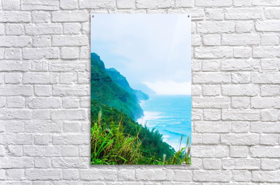 green mountain and ocean view at Kauai, Hawaii, USA  Acrylic Print