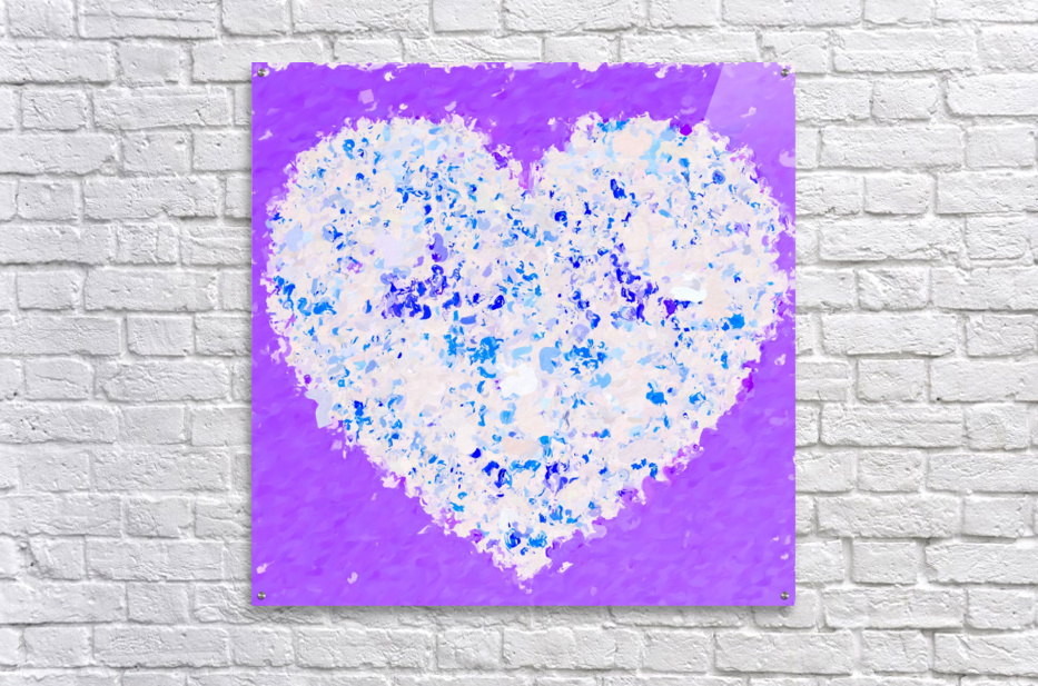 blue and white heart shape with purple background  Acrylic Print