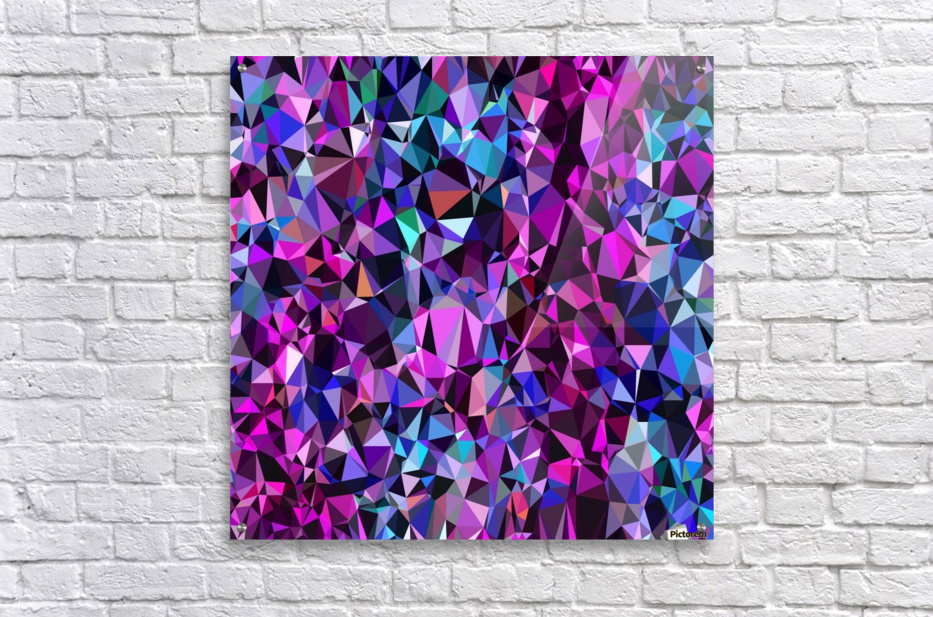 geometric triangle polygon pattern abstract in pink blue black  Acrylic Print