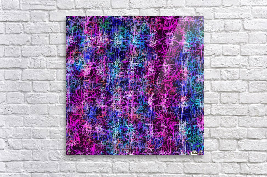 psychedelic abstract art pattern texture background in pink blue black  Acrylic Print