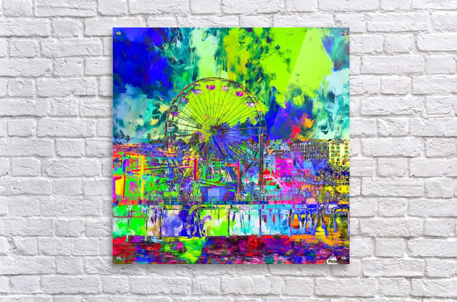 ferris wheel and buildings at Santa Monica pier, USA with colorful painting abstract background  Acrylic Print