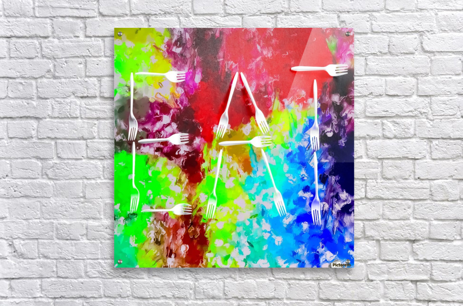 EAT alphabet by fork with colorful painting abstract background  Acrylic Print