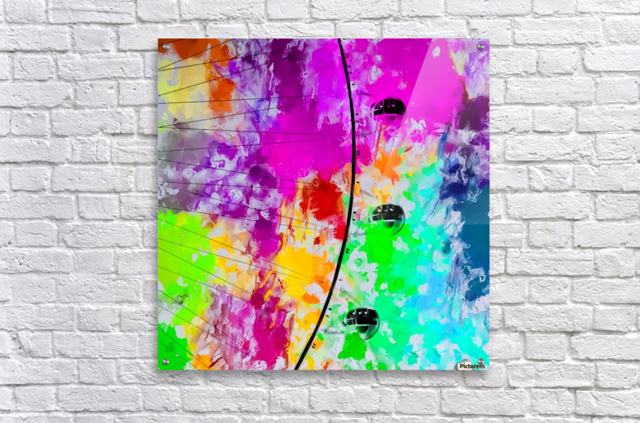 ferris wheel with pink blue green red yellow painting abstract background  Acrylic Print