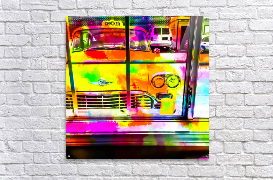 yellow classic taxi car with colorful painting abstract in pink orange green  Acrylic Print