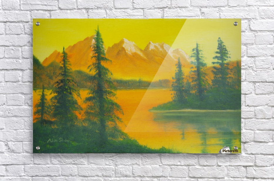 Yellow sky- snow capped mountains.  Acrylic Print