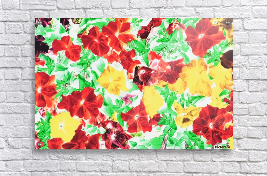 red flower and yellow flower with green leaf abstract background  Acrylic Print