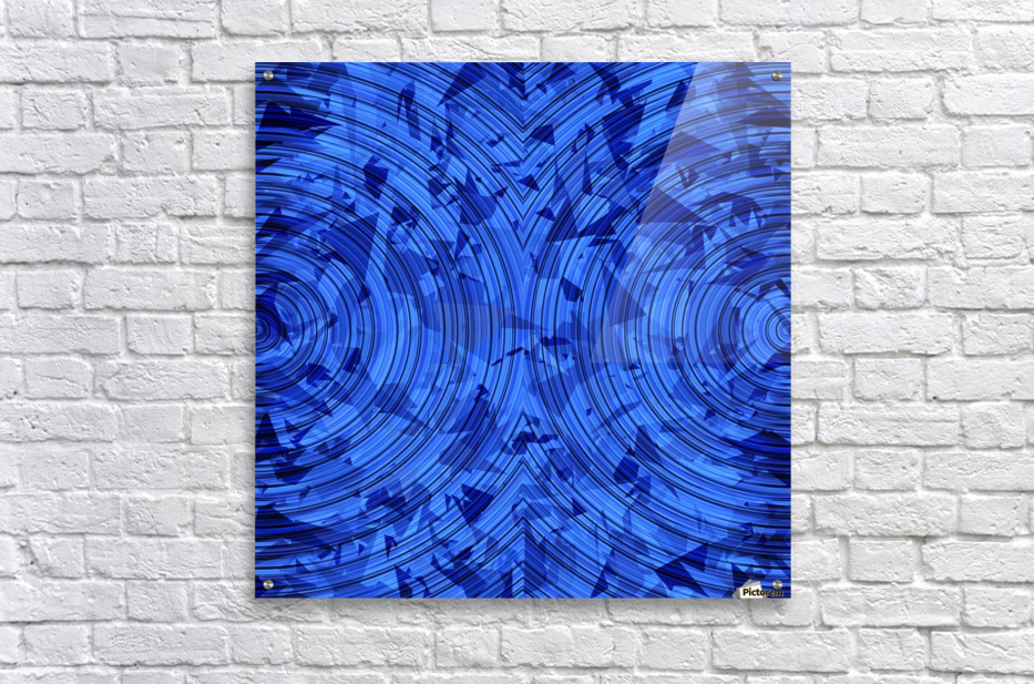 psychedelic geometric circle pattern abstract background in blue  Acrylic Print