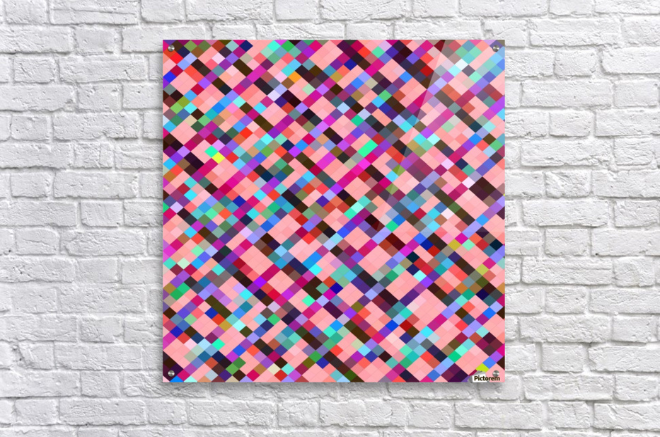 geometric pixel square pattern abstract background in pink purple blue yellow green  Acrylic Print