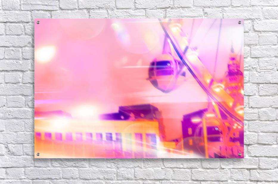 Ferris wheel and modern building with night light bokeh at Las Vegas, USA  Acrylic Print